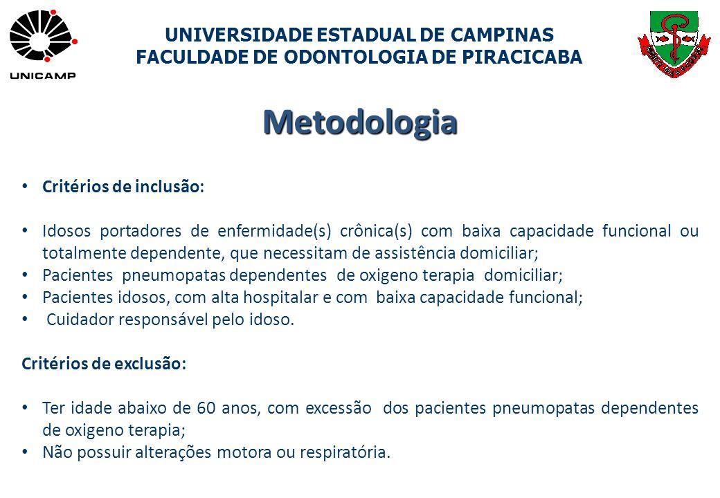 UNIVERSIDADE ESTADUAL DE CAMPINAS FACULDADE DE ODONTOLOGIA DE PIRACICABA Critérios de inclusão: Idosos portadores de enfermidade(s) crônica(s) com bai