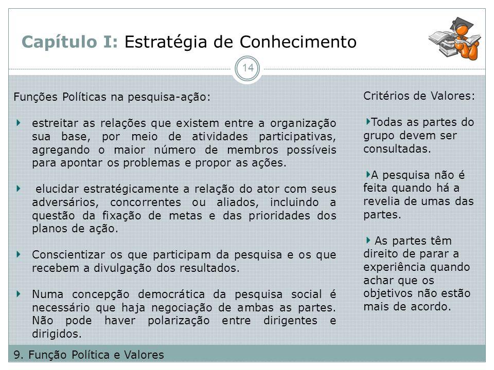 Capítulo I: Estratégia de Conhecimento Funções Políticas na pesquisa-ação: estreitar as relações que existem entre a organização sua base, por meio de