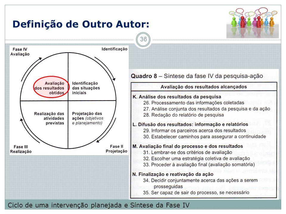 Definição de Outro Autor: 36 Ciclo de uma intervenção planejada e Síntese da Fase IV