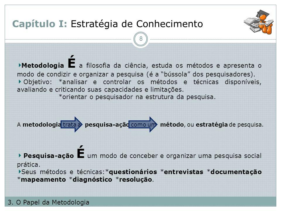 Capítulo I: Estratégia de Conhecimento 8 3. O Papel da Metodologia Metodologia É a filosofia da ciência, estuda os métodos e apresenta o modo de condi
