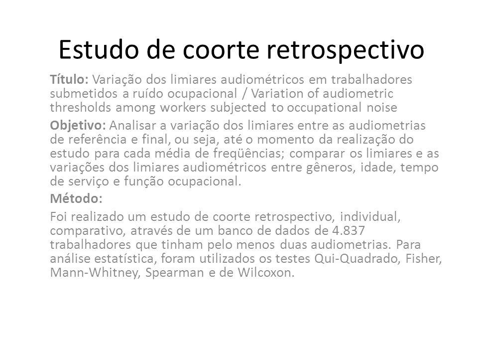 Estudo de coorte retrospectivo Título: Variação dos limiares audiométricos em trabalhadores submetidos a ruído ocupacional / Variation of audiometric