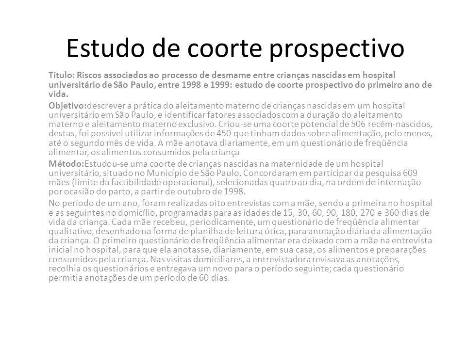 Estudo de coorte prospectivo Título: Riscos associados ao processo de desmame entre crianças nascidas em hospital universitário de São Paulo, entre 19