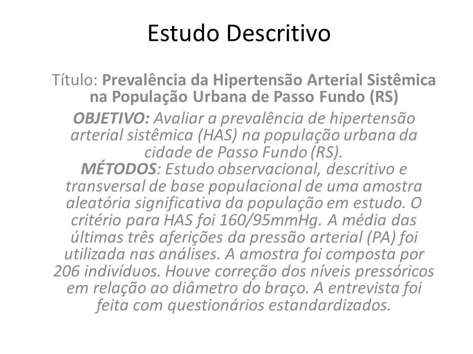 Estudo Descritivo Título: Prevalência da Hipertensão Arterial Sistêmica na População Urbana de Passo Fundo (RS) OBJETIVO: Avaliar a prevalência de hip