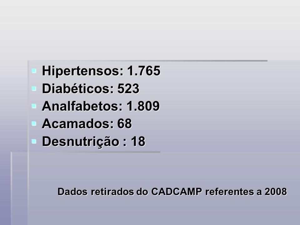 Hipertensos: 1.765 Hipertensos: 1.765 Diabéticos: 523 Diabéticos: 523 Analfabetos: 1.809 Analfabetos: 1.809 Acamados: 68 Acamados: 68 Desnutrição : 18 Desnutrição : 18 Dados retirados do CADCAMP referentes a 2008