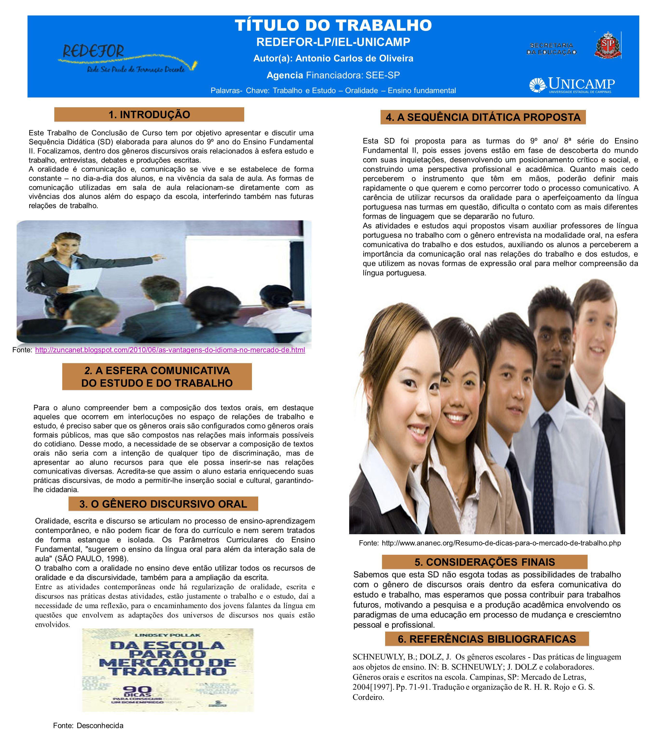TÍTULO DO TRABALHO REDEFOR-LP/IEL-UNICAMP Autor(a): Antonio Carlos de Oliveira Agencia Financiadora: SEE-SP Palavras- Chave: Trabalho e Estudo – Orali