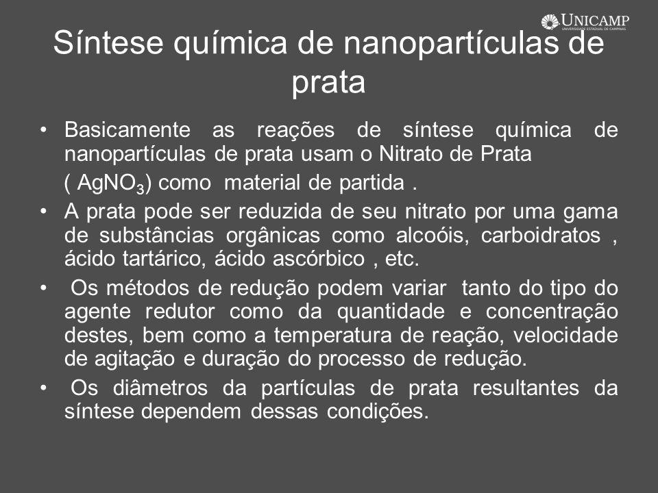 Síntese química de nanopartículas de prata Basicamente as reações de síntese química de nanopartículas de prata usam o Nitrato de Prata ( AgNO 3 ) com