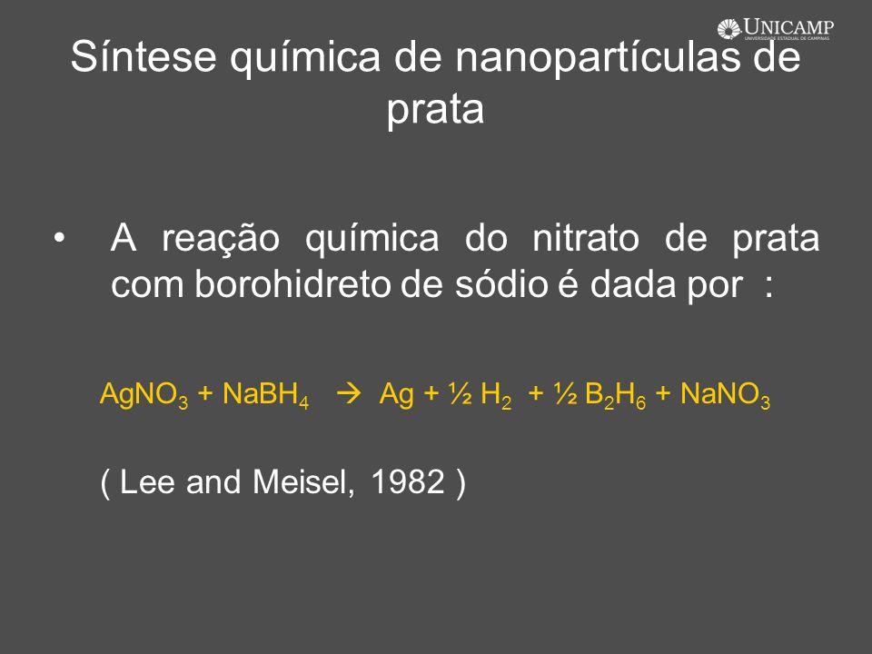 Síntese química de nanopartículas de prata A reação química do nitrato de prata com borohidreto de sódio é dada por : AgNO 3 + NaBH 4 Ag + ½ H 2 + ½ B