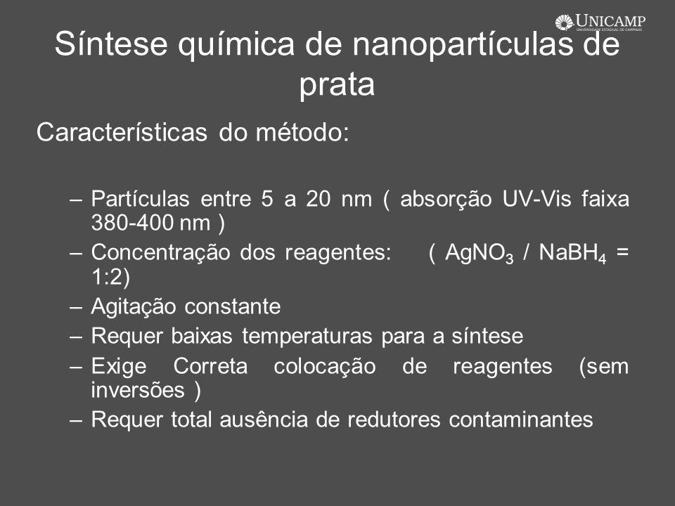 Síntese química de nanopartículas de prata Características do método: –Partículas entre 5 a 20 nm ( absorção UV-Vis faixa 380-400 nm ) –Concentração d