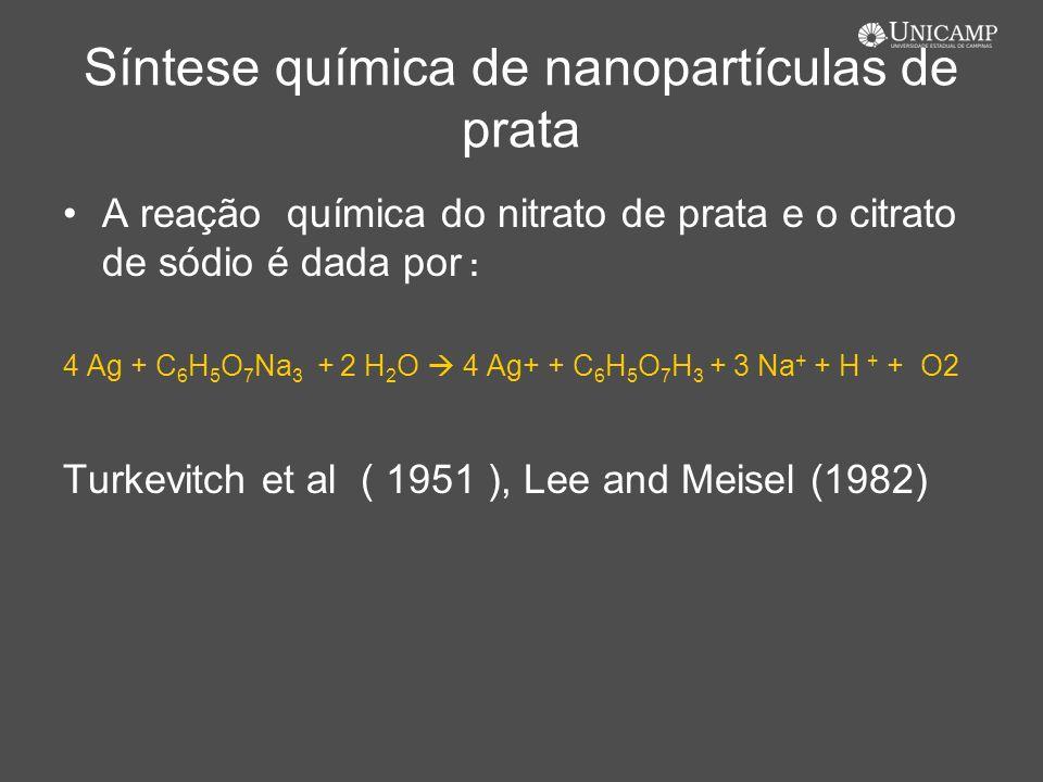 Síntese química de nanopartículas de prata A reação química do nitrato de prata e o citrato de sódio é dada por : 4 Ag + C 6 H 5 O 7 Na 3 + 2 H 2 O 4