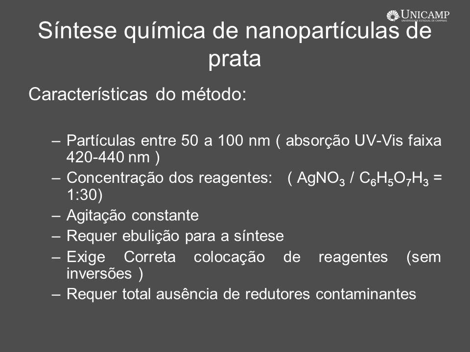 Síntese química de nanopartículas de prata Características do método: –Partículas entre 50 a 100 nm ( absorção UV-Vis faixa 420-440 nm ) –Concentração