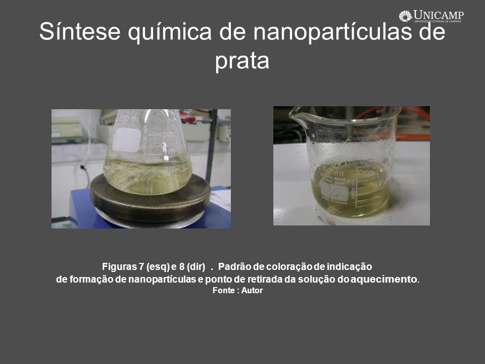 Síntese química de nanopartículas de prata Figuras 7 (esq) e 8 (dir). Padrão de coloração de indicação de formação de nanopartículas e ponto de retira