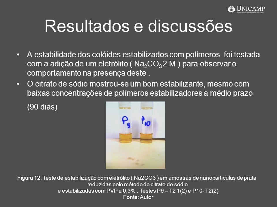 Resultados e discussões A estabilidade dos colóides estabilizados com polímeros foi testada com a adição de um eletrólito ( Na 2 CO 3 2 M ) para obser
