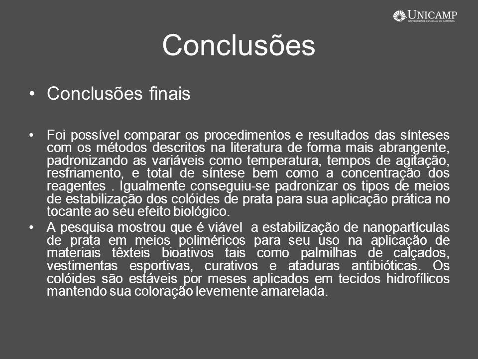 Conclusões Conclusões finais Foi possível comparar os procedimentos e resultados das sínteses com os métodos descritos na literatura de forma mais abr