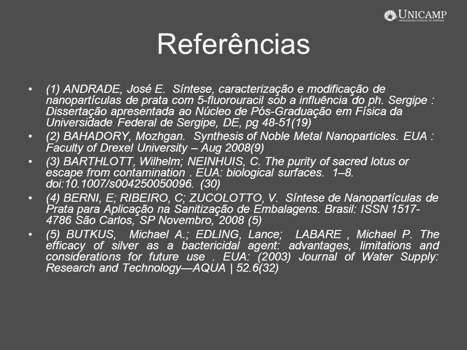Referências (1) ANDRADE, José E. Síntese, caracterização e modificação de nanopartículas de prata com 5-fluorouracil sob a influência do ph. Sergipe :