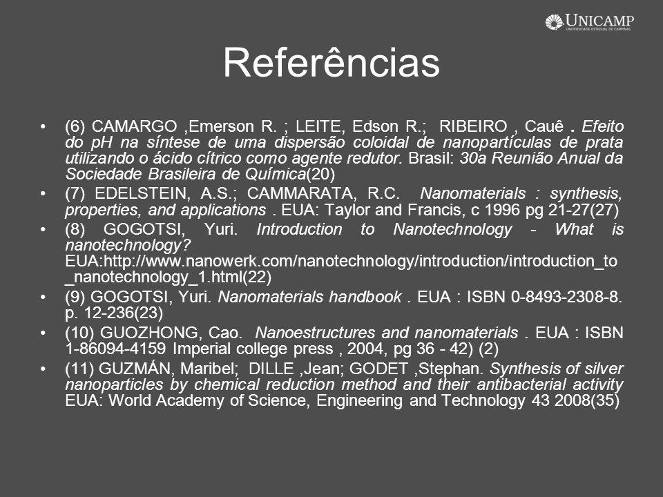 Referências (6) CAMARGO,Emerson R. ; LEITE, Edson R.; RIBEIRO, Cauê. Efeito do pH na síntese de uma dispersão coloidal de nanopartículas de prata util