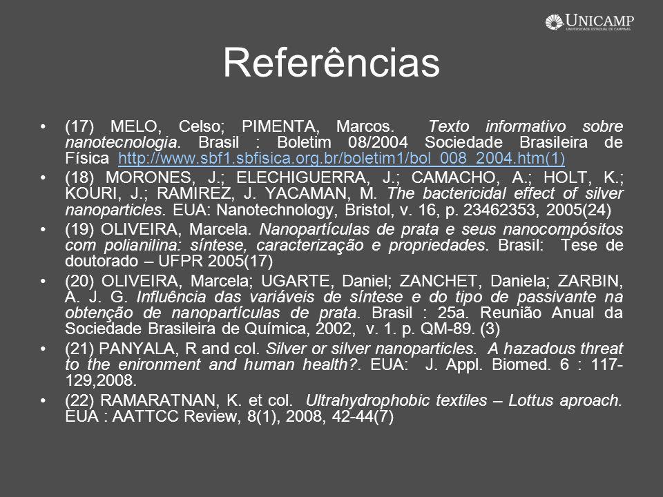 Referências (17) MELO, Celso; PIMENTA, Marcos. Texto informativo sobre nanotecnologia. Brasil : Boletim 08/2004 Sociedade Brasileira de Física http://