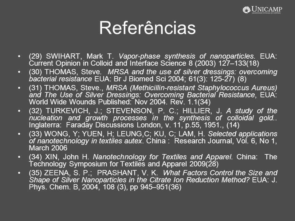 Referências (29) SWIHART, Mark T. Vapor-phase synthesis of nanoparticles. EUA: Current Opinion in Colloid and Interface Science 8 (2003) 127–133(18) (