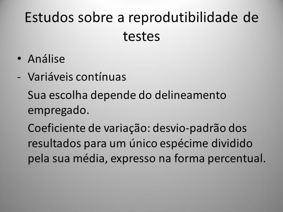 Estudos sobre a reprodutibilidade de testes Análise -Variáveis contínuas Sua escolha depende do delineamento empregado. Coeficiente de variação: desvi