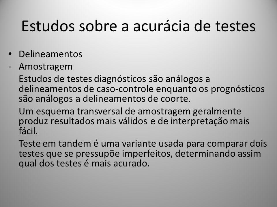 Estudos sobre a acurácia de testes Delineamentos -Amostragem Estudos de testes diagnósticos são análogos a delineamentos de caso-controle enquanto os prognósticos são análogos a delineamentos de coorte.
