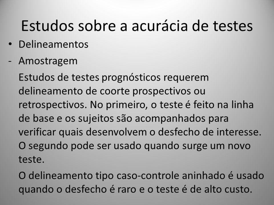 Estudos sobre a acurácia de testes Delineamentos -Amostragem Estudos de testes prognósticos requerem delineamento de coorte prospectivos ou retrospect