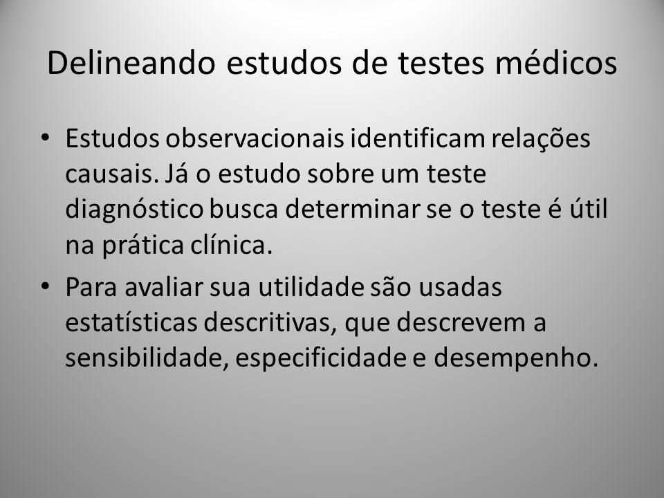 Estudos observacionais identificam relações causais. Já o estudo sobre um teste diagnóstico busca determinar se o teste é útil na prática clínica. Par