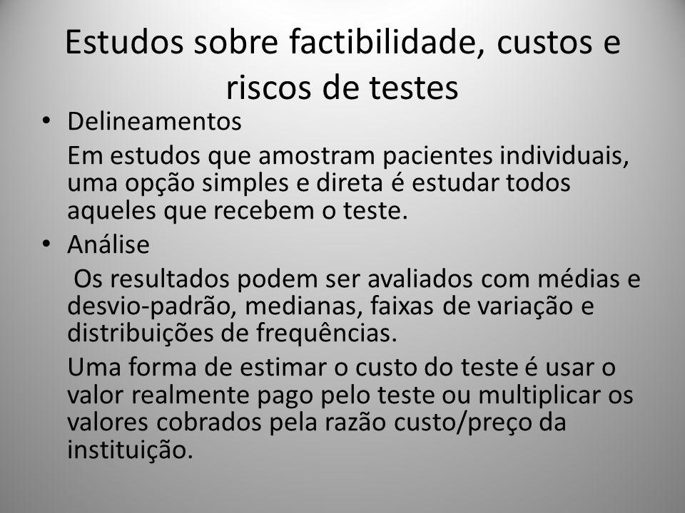 Estudos sobre factibilidade, custos e riscos de testes Delineamentos Em estudos que amostram pacientes individuais, uma opção simples e direta é estud