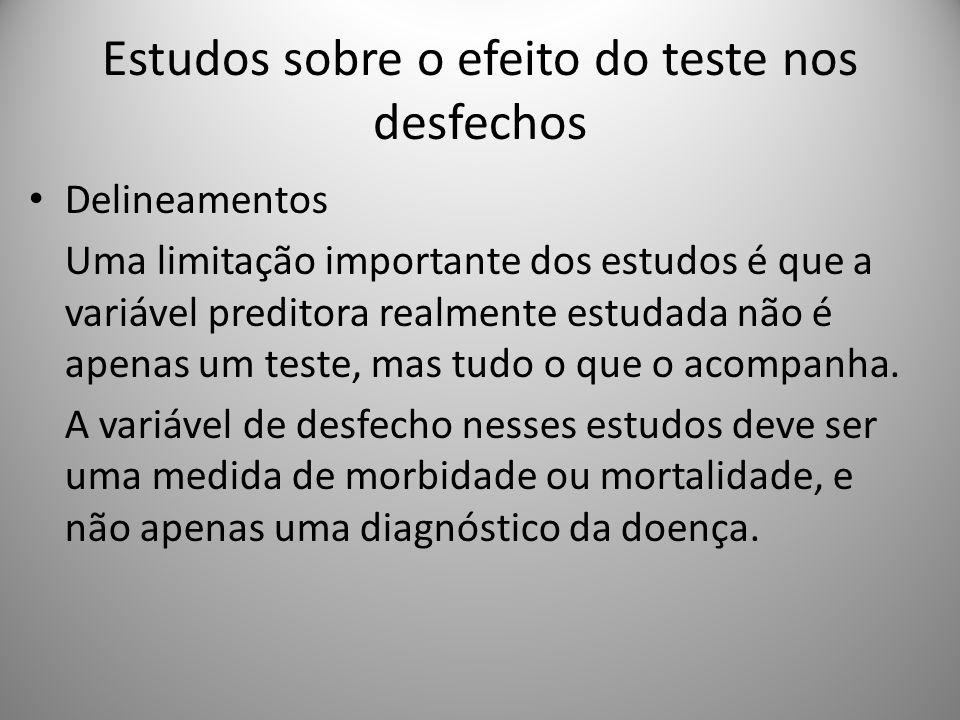 Estudos sobre o efeito do teste nos desfechos Delineamentos Uma limitação importante dos estudos é que a variável preditora realmente estudada não é apenas um teste, mas tudo o que o acompanha.