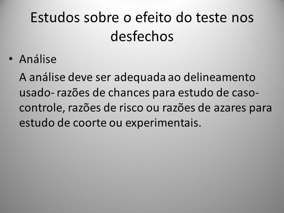 Estudos sobre o efeito do teste nos desfechos Análise A análise deve ser adequada ao delineamento usado- razões de chances para estudo de caso- controle, razões de risco ou razões de azares para estudo de coorte ou experimentais.