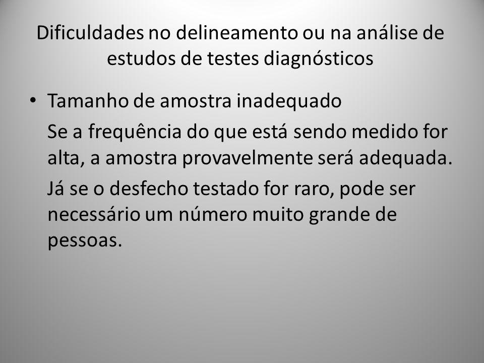 Dificuldades no delineamento ou na análise de estudos de testes diagnósticos Tamanho de amostra inadequado Se a frequência do que está sendo medido for alta, a amostra provavelmente será adequada.