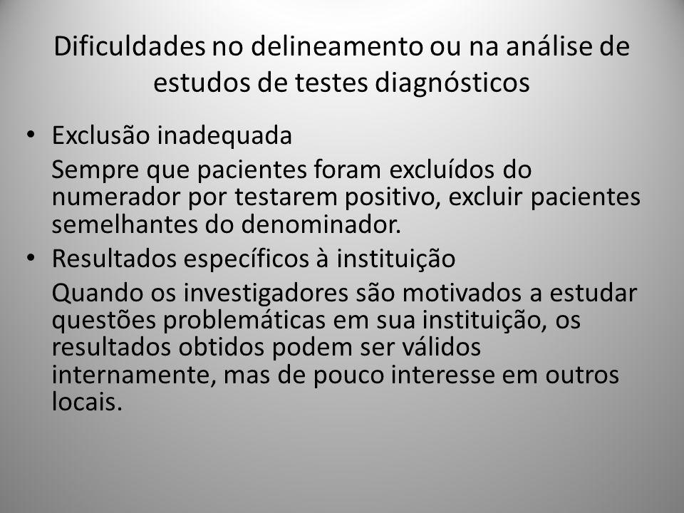 Dificuldades no delineamento ou na análise de estudos de testes diagnósticos Exclusão inadequada Sempre que pacientes foram excluídos do numerador por testarem positivo, excluir pacientes semelhantes do denominador.
