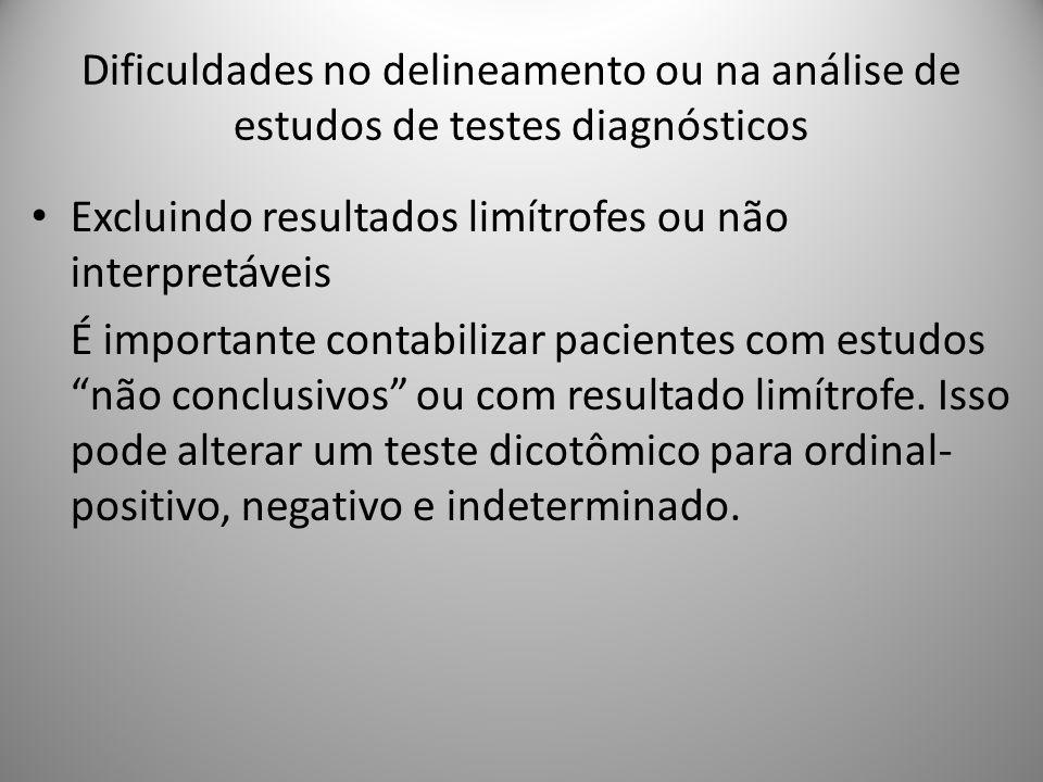 Dificuldades no delineamento ou na análise de estudos de testes diagnósticos Excluindo resultados limítrofes ou não interpretáveis É importante contabilizar pacientes com estudos não conclusivos ou com resultado limítrofe.