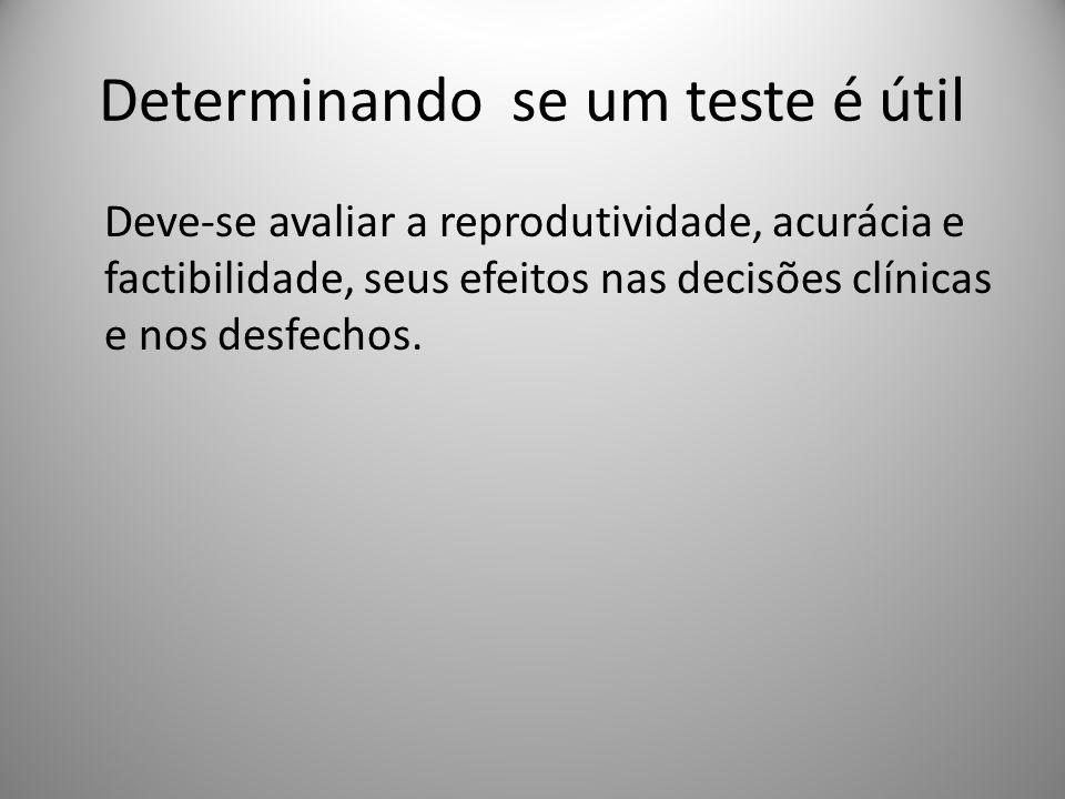 Determinando se um teste é útil Deve-se avaliar a reprodutividade, acurácia e factibilidade, seus efeitos nas decisões clínicas e nos desfechos.