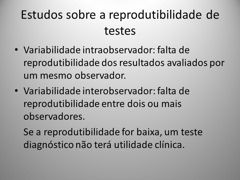 Estudos sobre a reprodutibilidade de testes Variabilidade intraobservador: falta de reprodutibilidade dos resultados avaliados por um mesmo observador.