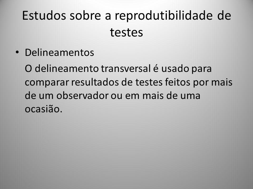 Estudos sobre a reprodutibilidade de testes Delineamentos O delineamento transversal é usado para comparar resultados de testes feitos por mais de um observador ou em mais de uma ocasião.