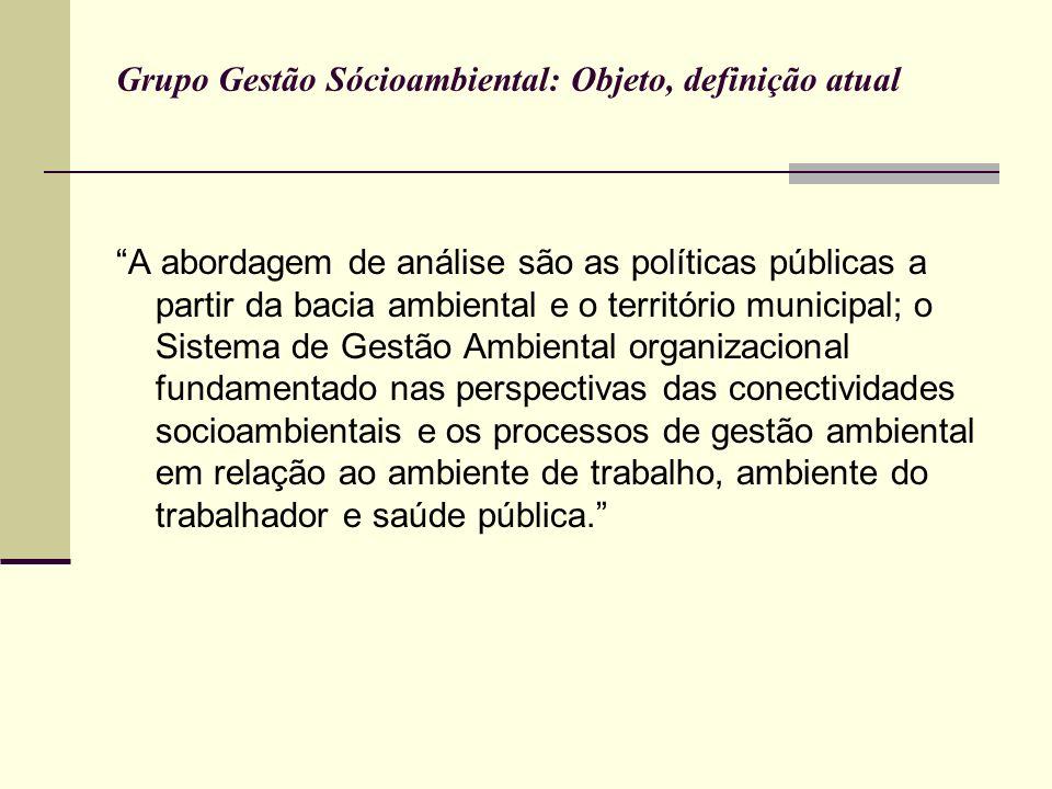 Objeto de estudo do GRUPO GESTÃO SOCIOAMBIENTAL Processos de planejamento e gerenciamento ambientais das políticas públicas e seus respectivos arranjos institucionais na interação com as conectividades socioambientais, definidas pela bacia ambiental.