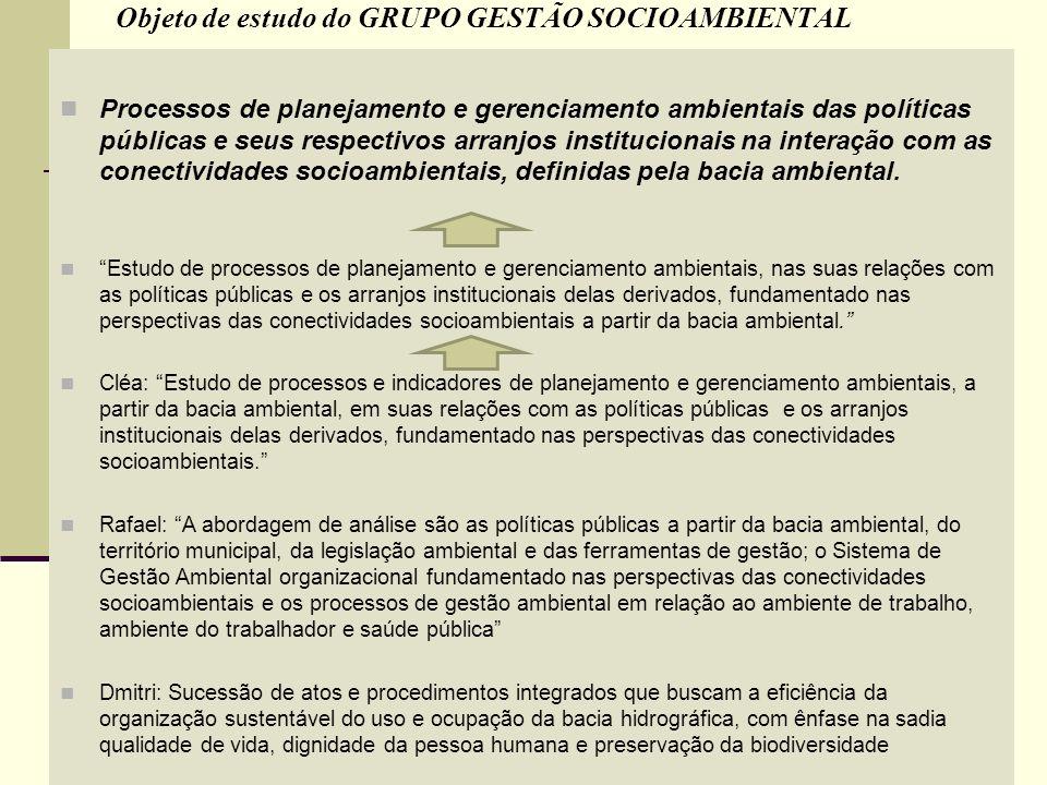 Objeto de estudo do GRUPO GESTÃO SOCIOAMBIENTAL Processos de planejamento e gerenciamento ambientais das políticas públicas e seus respectivos arranjo