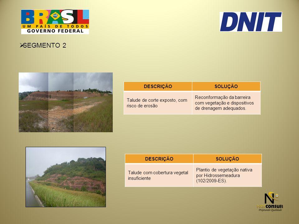 SEGMENTO 2 DESCRIÇÃOSOLUÇÃO Talude de corte exposto, com risco de erosão Reconformação da barreira com vegetação e dispositivos de drenagem adequados.