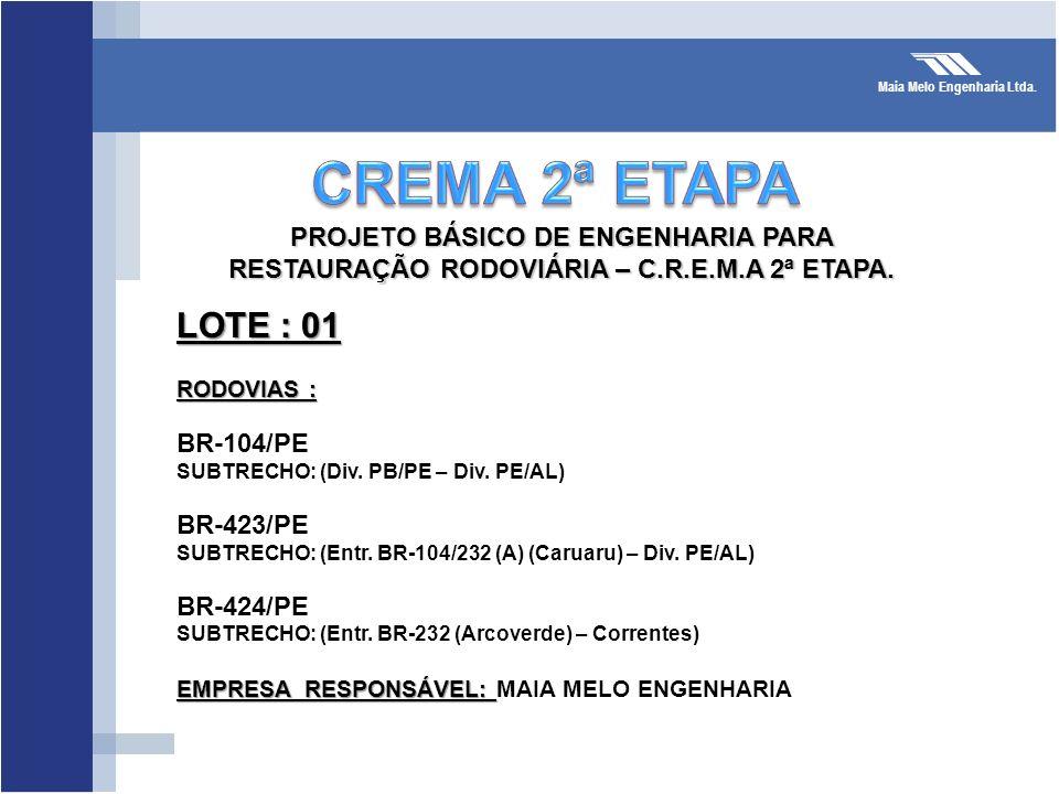 Maia Melo Engenharia Ltda. LOTE : 01 RODOVIAS : BR-104/PE SUBTRECHO: (Div. PB/PE – Div. PE/AL) BR-423/PE SUBTRECHO: (Entr. BR-104/232 (A) (Caruaru) –