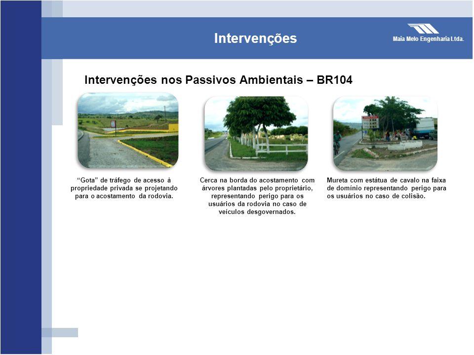 Maia Melo Engenharia Ltda. Intervenções Intervenções nos Passivos Ambientais – BR104 Gota de tráfego de acesso à propriedade privada se projetando par