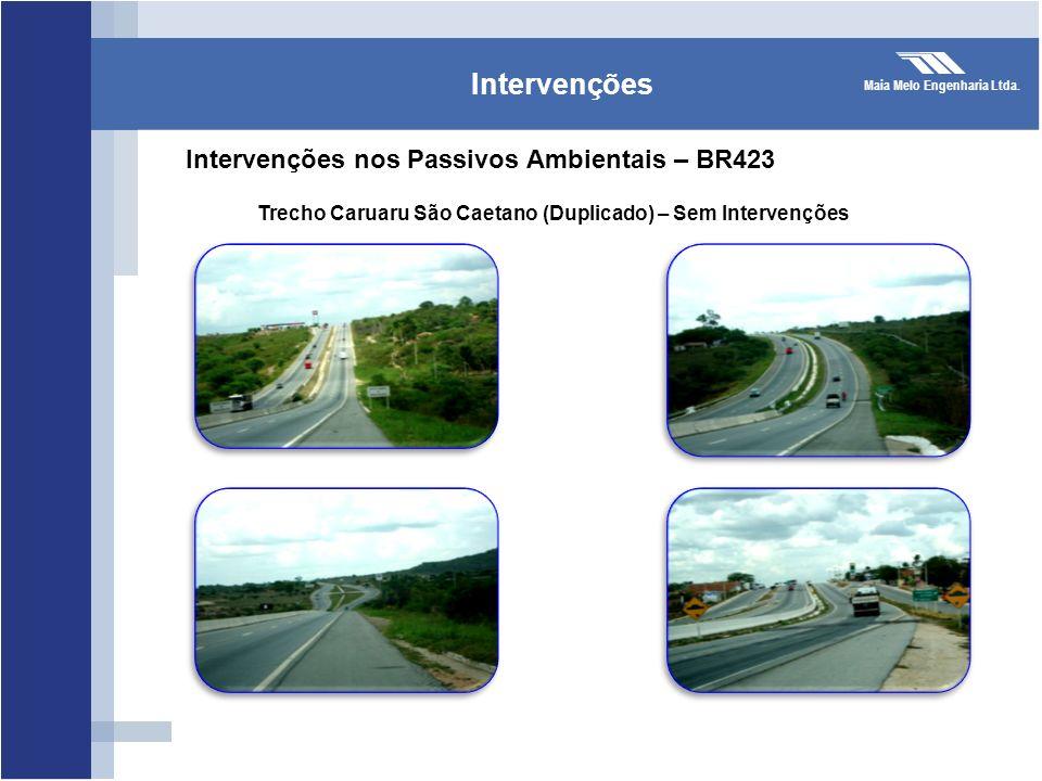 Maia Melo Engenharia Ltda. Intervenções Intervenções nos Passivos Ambientais – BR423 Trecho Caruaru São Caetano (Duplicado) – Sem Intervenções