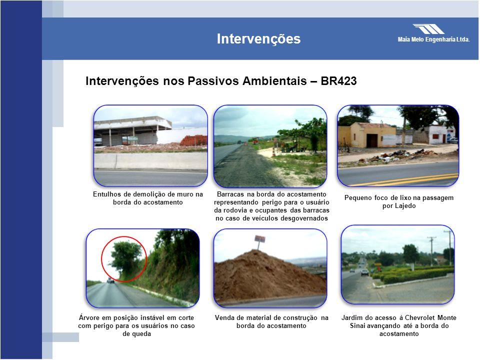 Maia Melo Engenharia Ltda. Intervenções Entulhos de demolição de muro na borda do acostamento Intervenções nos Passivos Ambientais – BR423 Barracas na