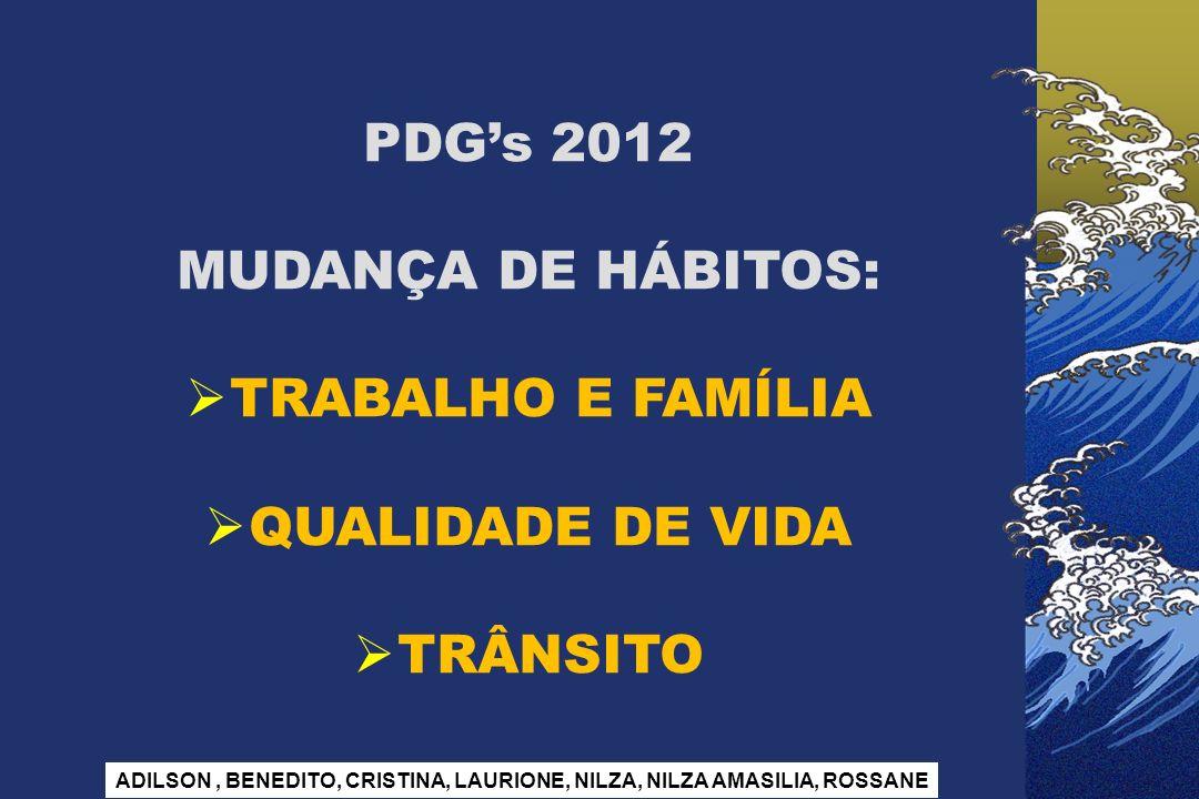 PDGs 2012 MUDANÇA DE HÁBITOS: TRABALHO E FAMÍLIA QUALIDADE DE VIDA TRÂNSITO ADILSON, BENEDITO, CRISTINA, LAURIONE, NILZA, NILZA AMASILIA, ROSSANE