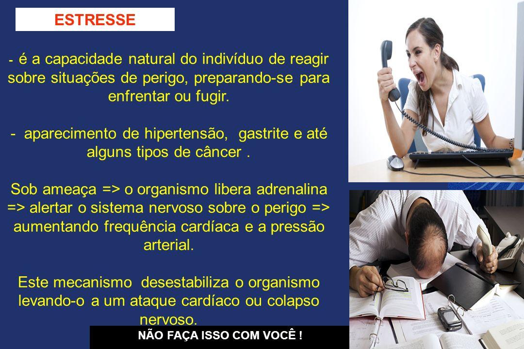 SINAIS SIGNIFICATIVOS DE ESTRESSE - Aumento de consumo: bebidas, cigarros, comidas, etc.