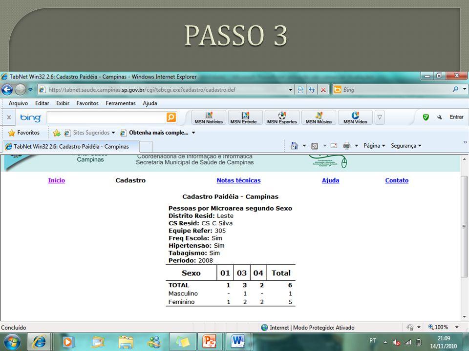 Site da Prefeitura Municipal de Campinas – Informações em Saúde – TabNet – CADCAMP - http://tabnet.saude.campinas.sp.gov.br/ - acesso em 14 de novembro de 2010 – 21:24.