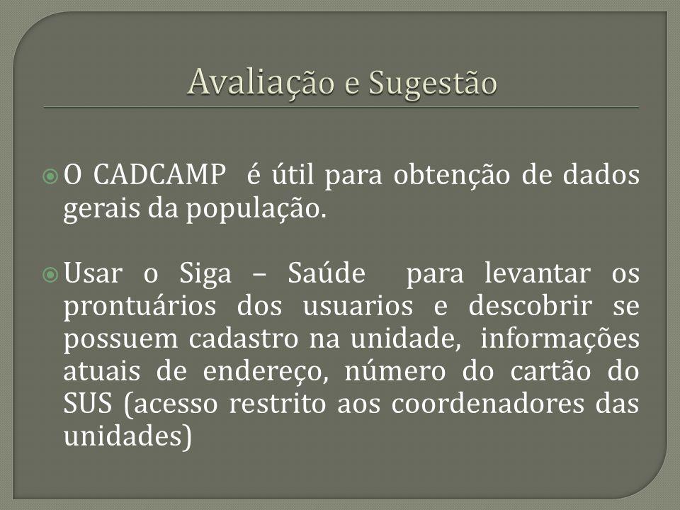 O CADCAMP é útil para obtenção de dados gerais da população. Usar o Siga – Saúde para levantar os prontuários dos usuarios e descobrir se possuem cada
