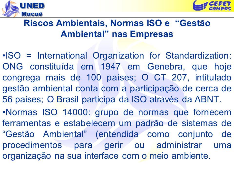 UNED Macaé Riscos Ambientais, Normas ISO e Gestão Ambiental nas Empresas ISO = International Organization for Standardization: ONG constituída em 1947 em Genebra, que hoje congrega mais de 100 países; O CT 207, intitulado gestão ambiental conta com a participação de cerca de 56 países; O Brasil participa da ISO através da ABNT.