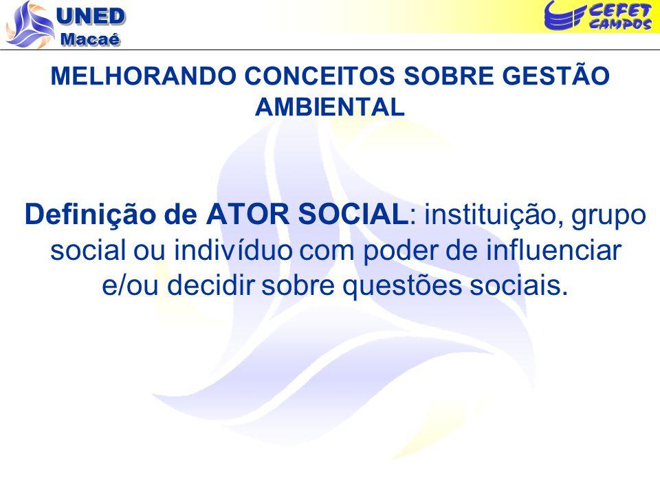 UNED Macaé MELHORANDO CONCEITOS SOBRE GESTÃO AMBIENTAL Definição de ATOR SOCIAL: instituição, grupo social ou indivíduo com poder de influenciar e/ou decidir sobre questões sociais.