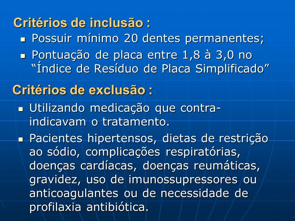 Critérios de inclusão : Possuir mínimo 20 dentes permanentes; Possuir mínimo 20 dentes permanentes; Pontuação de placa entre 1,8 à 3,0 no Índice de Resíduo de Placa Simplificado Pontuação de placa entre 1,8 à 3,0 no Índice de Resíduo de Placa Simplificado Critérios de exclusão : Utilizando medicação que contra- indicavam o tratamento.