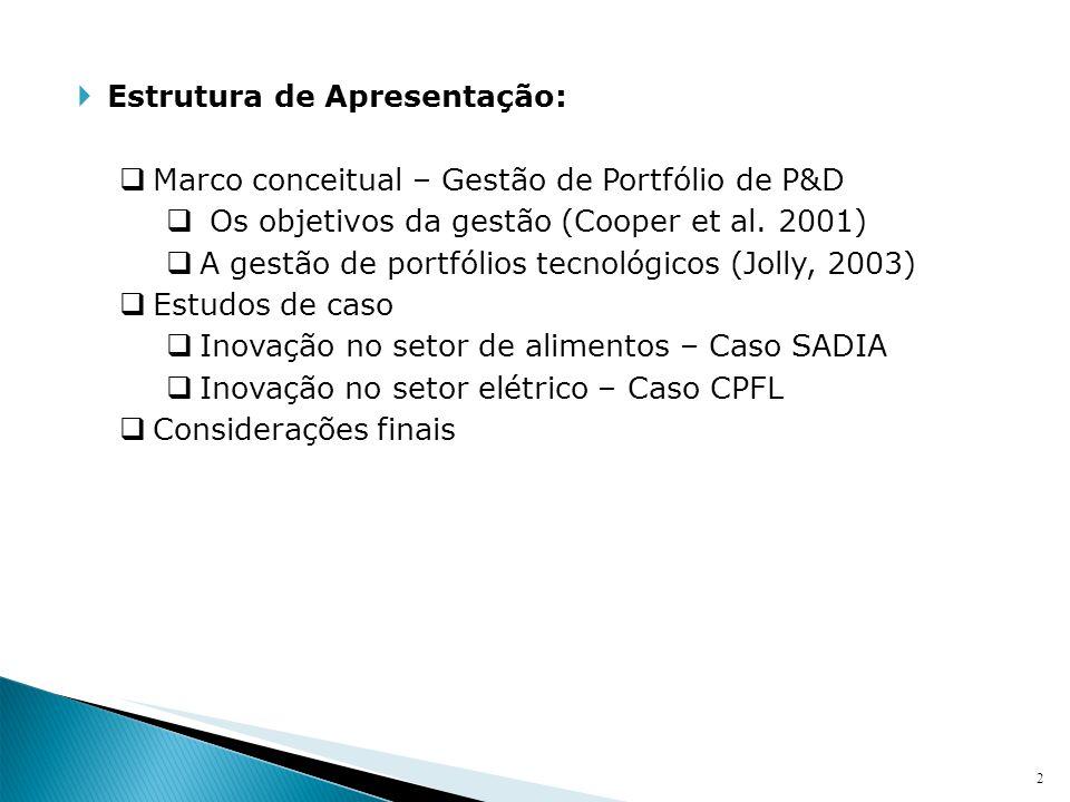 2 Estrutura de Apresentação: Marco conceitual – Gestão de Portfólio de P&D Os objetivos da gestão (Cooper et al. 2001) A gestão de portfólios tecnológ