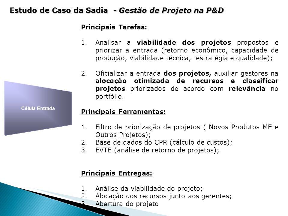 Célula Entrada Principais Tarefas: 1.Analisar a viabilidade dos projetos propostos e priorizar a entrada (retorno econômico, capacidade de produção, v